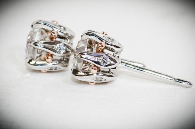 YT's Custom Platinum and Rose Gold OEC Studs (Side View) - image by Barrett Salzmann