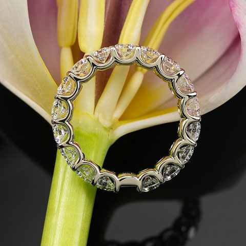 Yssie's 14K White Gold Uprong A Cut Above Eternity Band (Side View) - image by Whiteflash