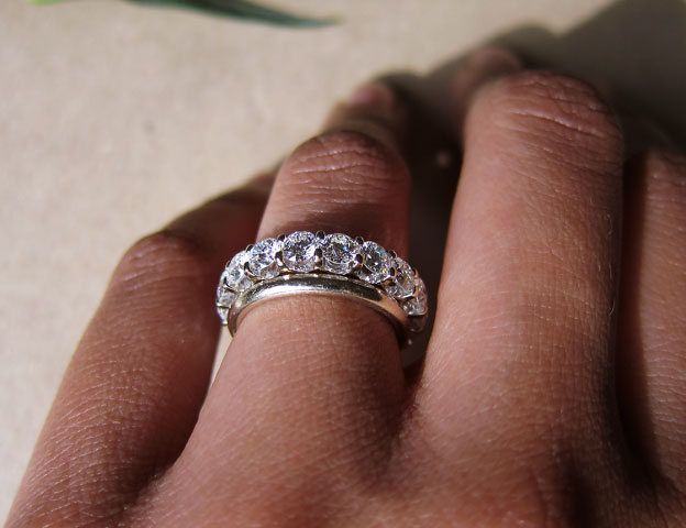 Yssie's 14K White Gold Uprong A Cut Above Eternity Band (Hand View) - image by Yssie