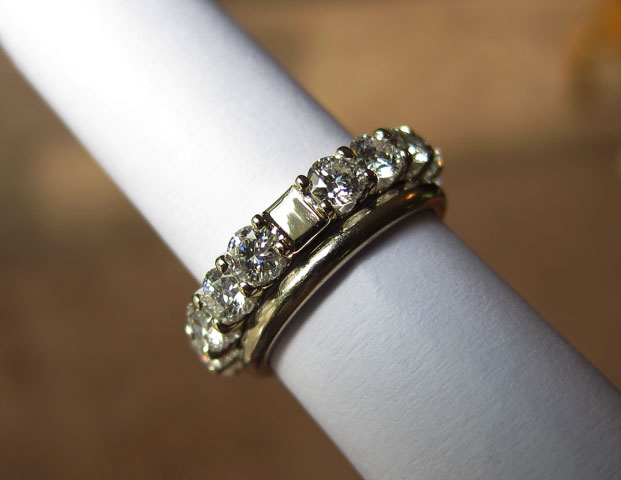 Yssie's 14K White Gold Uprong A Cut Above Eternity Band (with 18K Band) - image by Yssie