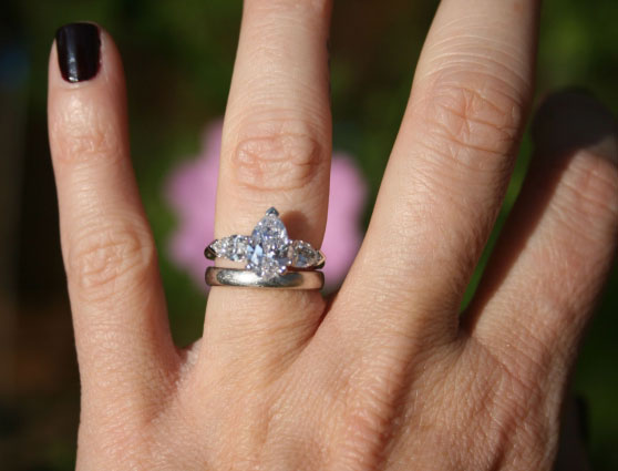 babooshka's Upgraded Graff Pear Engagement Ring (Hand View) - image by babooshka
