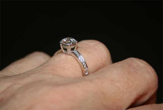 beebrisk's .85 Carat Platinum Micro Pave Engagement Ring (Angled Side View) - image by beebrisk