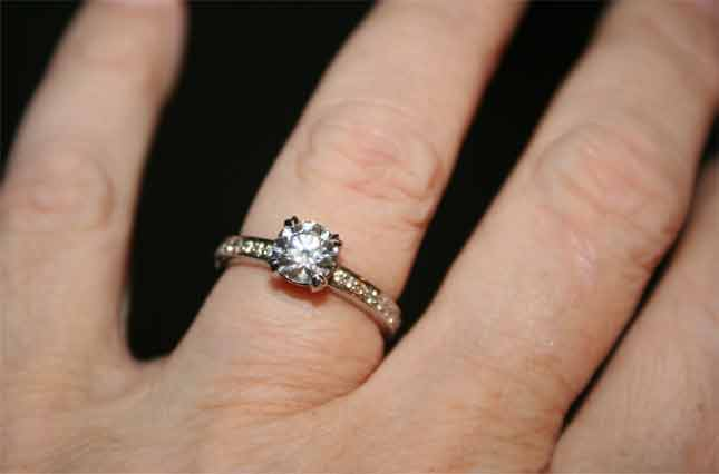 beebrisk's .85 Carat Platinum Micro Pave Engagement Ring (Hand View) - image by beebrisk