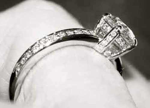 beebrisk's .85 Carat Platinum Micro Pave Engagement Ring (Close-Up View) - image by beebrisk
