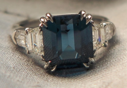 Cokitty 4.97 Carat Blue Spinel and Diamond Ring