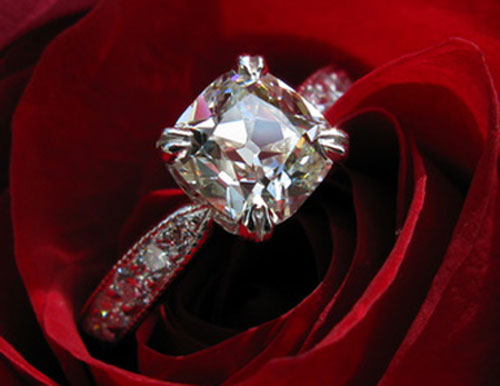 ecf8503's 10th Anniversary:  Old Mine Cut Diamond Ring (Rose View) - image by ecf8503