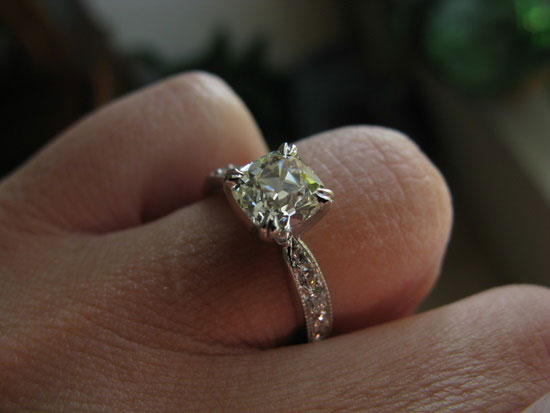ecf8503's 10th Anniversary:  Old Mine Cut Diamond Ring (Hand View) - image by ecf8503