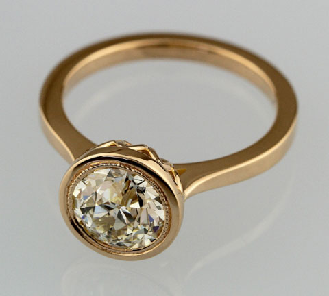 lin_ny's Rose Gold Bezel OEC Engagement Ring (Top Angle View) - image by lin_ny