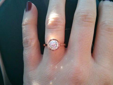 lin_ny's Rose Gold Bezel OEC Engagement Ring (Hand View) - image by lin_ny