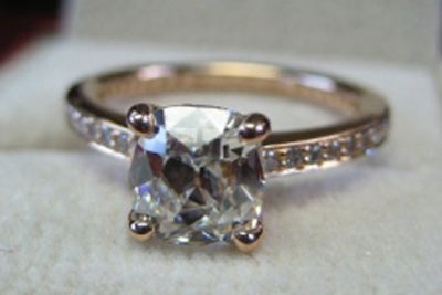 lokelani's Rose Gold August Vintage Cushion (AVC) Engagement Ring (Top View) - image by lokelani