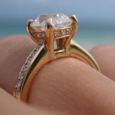 lokelani's Rose Gold August Vintage Cushion (AVC) Engagement Ring (Side Angle View) - image by lokelani