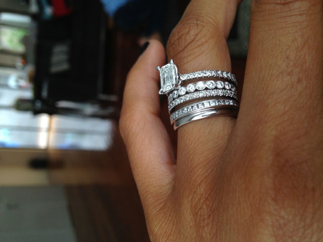me&myboys's 10 Year Anniversary:  1.01 Ct Emerald Cut Ring (Angled View) - image by me&myboys