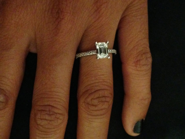 me&myboys's 10 Year Anniversary:  1.01 Ct Emerald Cut Ring (Top View of Featured Jewelry) - image by me&myboys