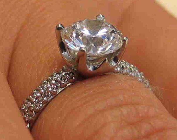 Stellamarina's 1.24 Carat Vatche Half Pave Engagement Ring (Side Angle View) - image by Stellamarina