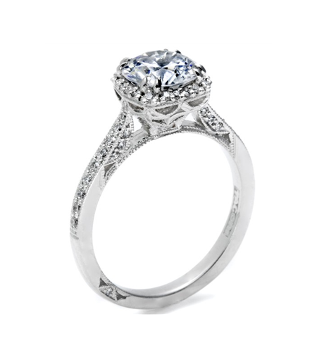 Tacori 'Dantela' pavé diamond engagement ring in platinum