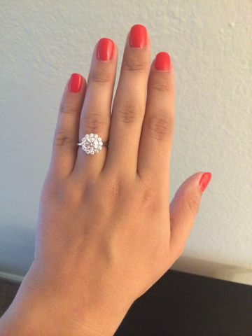 Tacori Full Bloom Diamond Engagement Ring on Finger - Image by tmot14