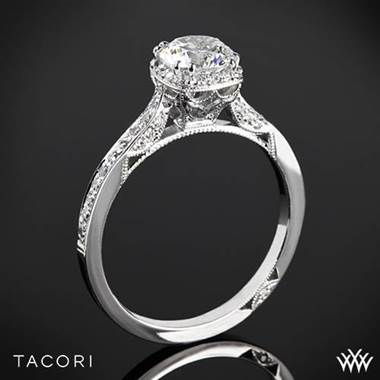 18k White Gold Tacori 2620RD Dantela Crown Diamond Engagement Ring for 0.75ct center at Whiteflash