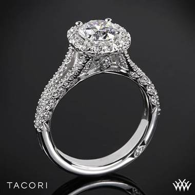 18k Rose Gold Tacori HT2548CU Petite Crescent Split Shank Halo Diamond Engagement Ring at Whiteflash