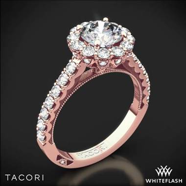 18k Rose Gold Tacori 37-2RD Full Bloom Round Halo Diamond Engagement Ring at Whiteflash