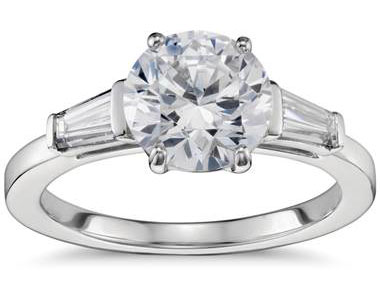 Tapered Baguette Diamond Engagement Ring in Platinum at Blue Nile