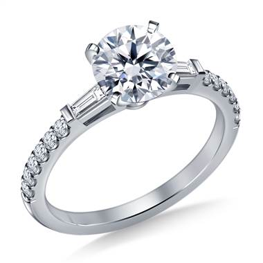 Tapered Baguette Engagement Ring with Accent Diamonds in Platinum (1/3 cttw.) at B2C Jewels