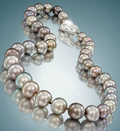 The Cowdray Pearls, a natural grey pearl necklace