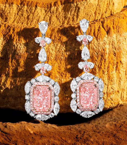 Sotheby's Hong Kong April 8 Auction: 'The Regalia' Fancy Pink Diamond Pendant Earrings