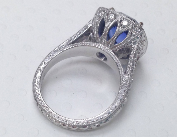 Sapphire and diamond halo ring - image by TheFutureMrsWhite
