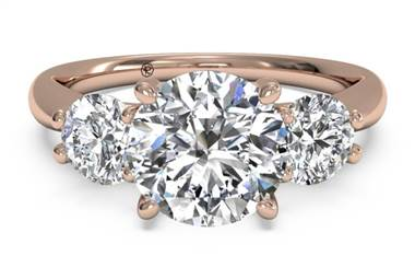 Three-Stone Diamond Engagement Ring - in 18kt Rose Gold (0.50 CTW) at Ritani