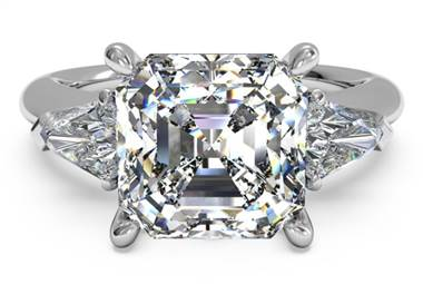 Three-Stone Diamond Engagement Ring with Bullet Side-Diamonds - in Platinum by Ritani