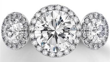 Danhov LE101 Danhov Per Lei 3 Stone Round Diamond Engagement Ring with Pave Halo and Shank at Solomon Brothers