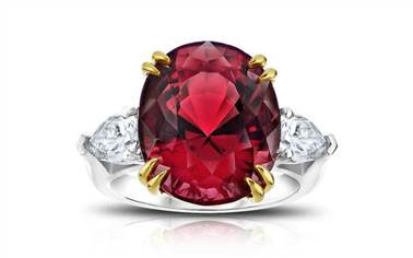 Three Stone Red Spinel and Diamond Ring - in Platinum and 18kt Yellow Gold - (1.03 CTW) at Ritani