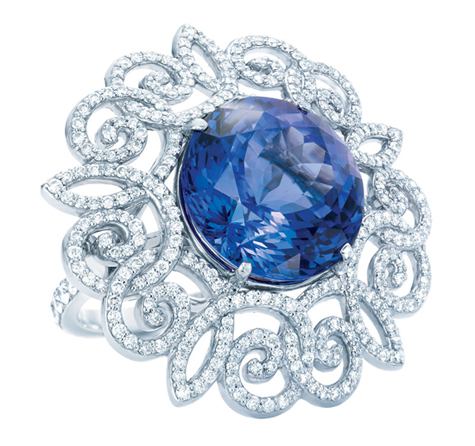 Tiffany & Co. 175th  Anniversary  tanzanite ring with diamonds set in platinum