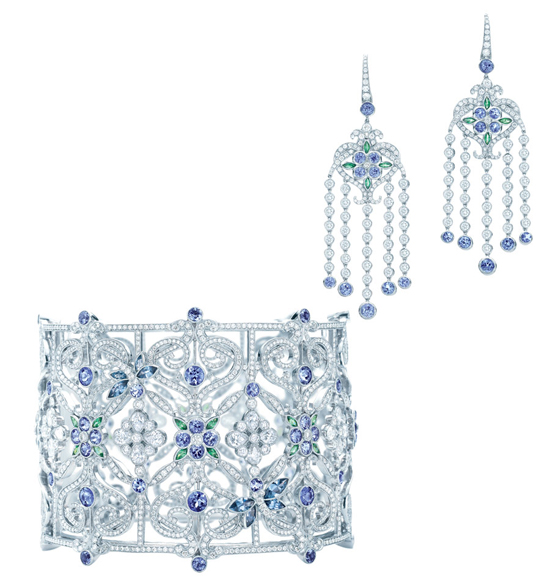 Tiffany & Co. 175th  Anniversary garden bracelet and Tiffany Enchant earrings with Tanzanites
