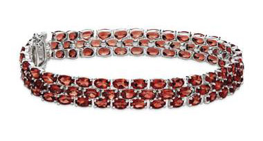 Trio Oval Garnet Bracelet in Sterling Silver (5x3mm) at Blue Nile