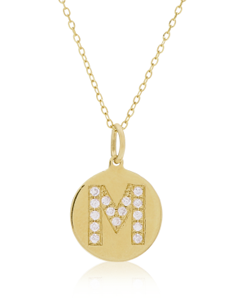 Vale Jewelry pavé initial disc necklace