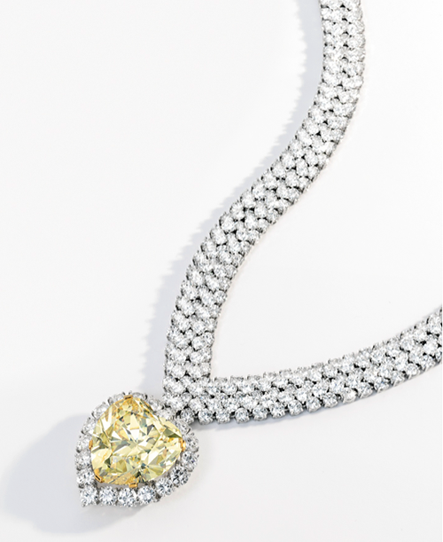 Fancy Intense Yellow Diamond and Diamond Pendant Necklace by Van Cleef & Arpels