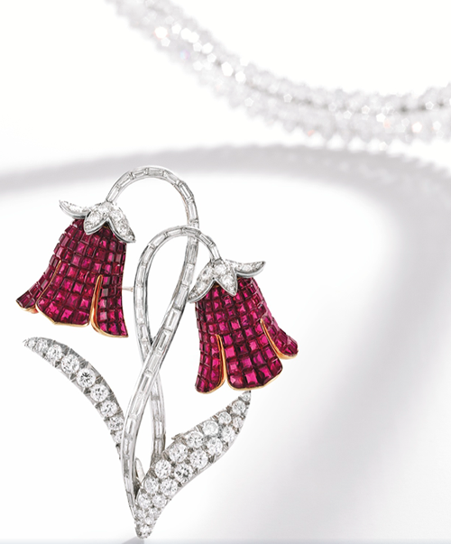 Mystery-Set Ruby and Diamond Brooch by Van Cleef & Arpels