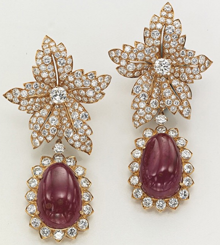 Van Cleef & Arpels ruby and diamond ear pendants formerly owned by Jacqueline Kennedy Onassis • Image: Christie's
