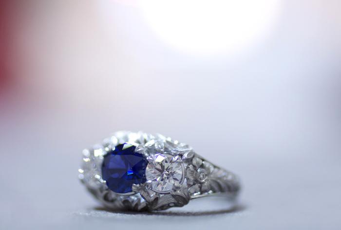 3-stone engagement ring by Van Craeynest