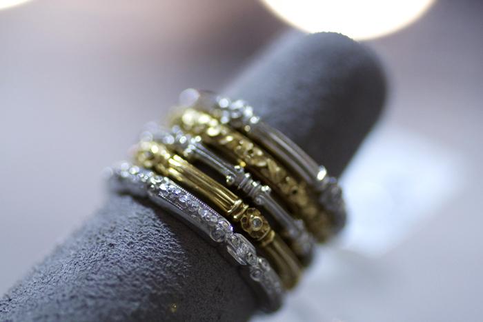 Assorted wedding bands in platinum and 18k gold by Van Craeynest