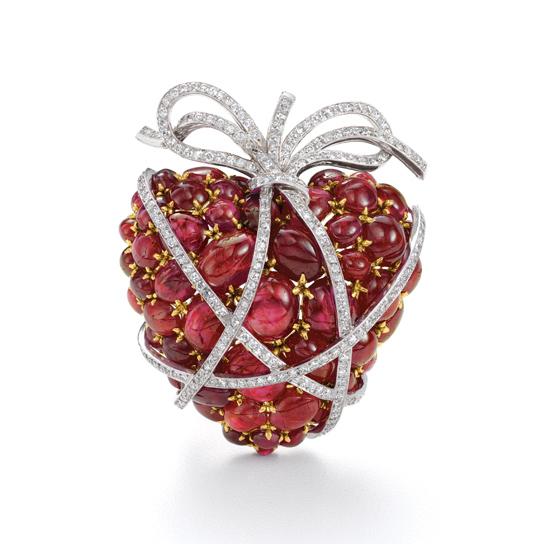 Verdura ruby wrapped heart brooch