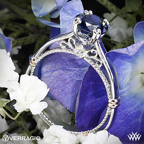 Verragio split-claw solitaire ring with blue sapphire from Whiteflash