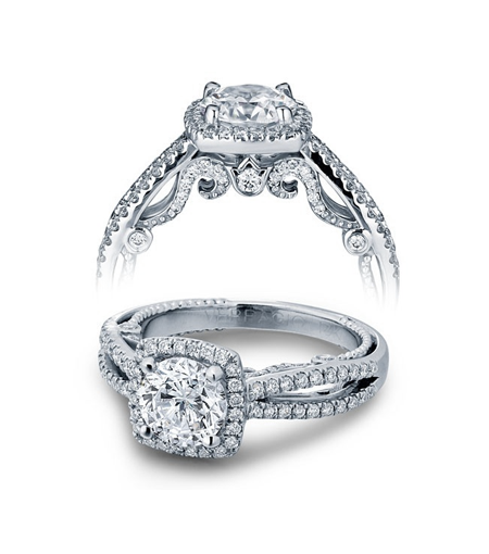 Verragio 'Insignia' pavé diamond engagement ring in 18k white gold