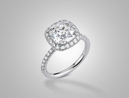 The Emilya Halo Solitaire with 2ct Vintage Cushion by Victor Canera