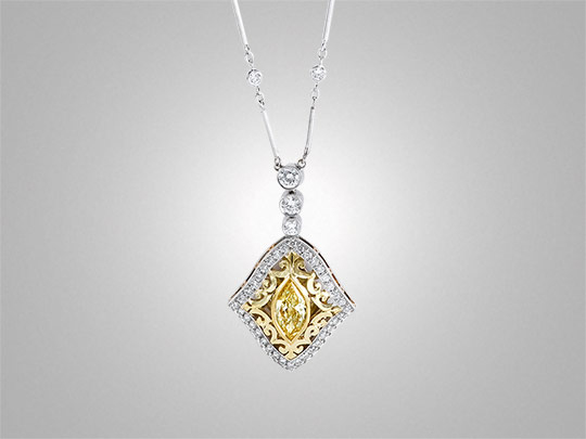Victor Canera fancy yellow marquise diamond pendant