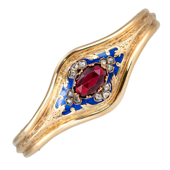 Victorian garnet and diamond bangle in 18k gold from Craig Evan Small at 1stdibs