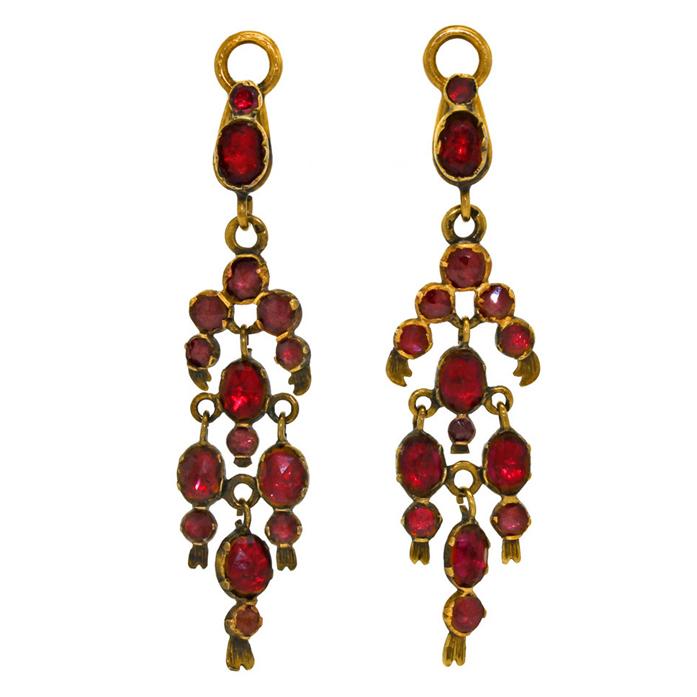 Victorian garnet dangle earrings from Lawrence Jeffrey Estate Jewelers at 1stdibs
