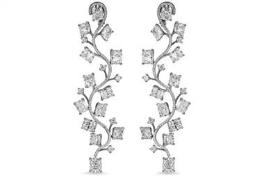 Brilliant Cushion Cut Diamond Vine Drop Earrings - in Platinum (27.83 CTW) by Ritani