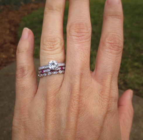 Old European cut diamond ring with vintage-style bands